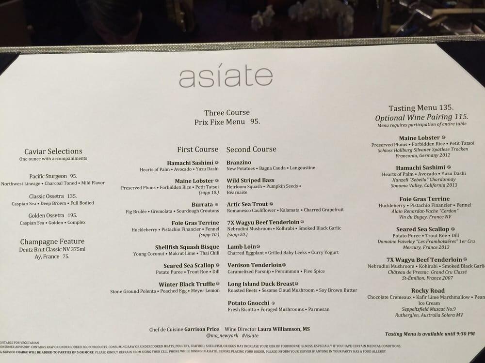 Asiate In Nyc Reviews Menu