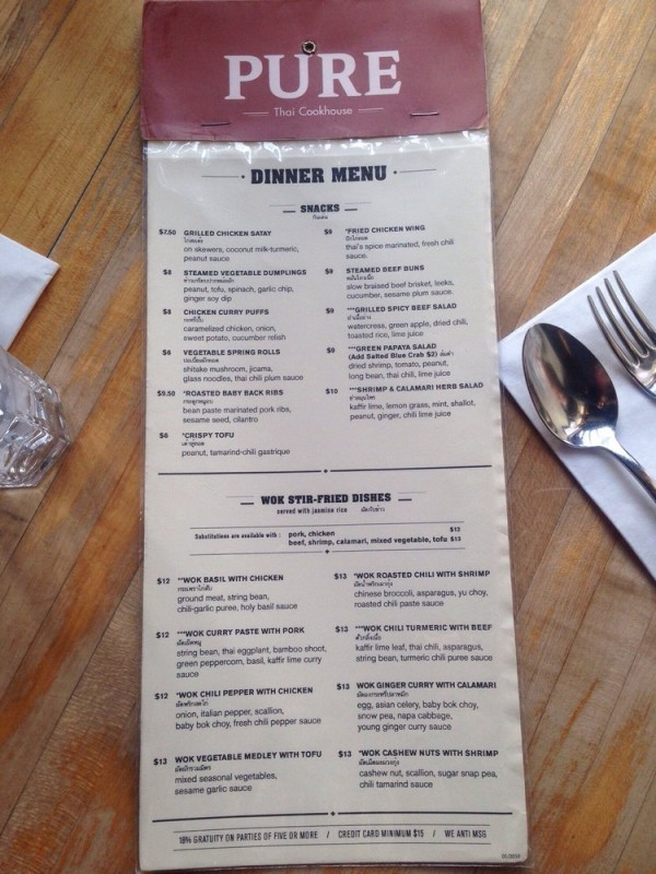 Pure Thai Cookhouse In Nyc Reviews Menu Reservations